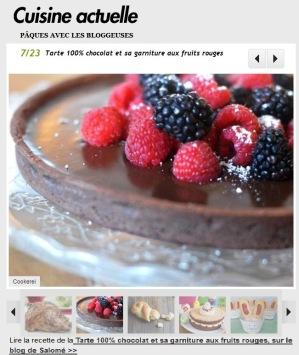 Cuisine Actuelle publie la recette de ma tarte 100% chocolat de Pâques sur son site http://photo.cuisineactuelle.fr/paques-avec-les-bloggeuses-10126/tarte-100-chocolat-et-sa-garniture-aux-fruits-rouges-179550
