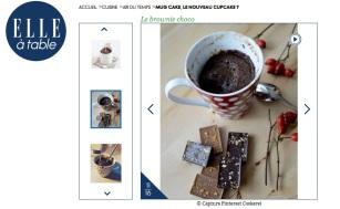 Elle.fr reprend la recette de mon mug cake sur son site, rubrique Elle à table - 20.12.13 / http://www.elle.fr/Elle-a-Table/Les-dossiers-de-la-redaction/Dossier-de-la-redac/Mug-cake-le-nouveau-cupcake/Le-brownie-choco