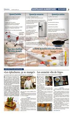 J'ai participé au dossier sur la gaspillage alimentaire du journal Le Quotidien avec ma recette d'arancini (en bas à droite de la page)