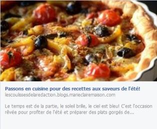 Marie-Claire reprend la recette de ma tarte aux légumes d'été - 23.07.13 http://lescoulissesdelaredaction.blogs.marieclairemaison.com/archive/2013/07/23/passons-en-cuisine-pour-des-recettes-aux-saveurs-de-l-ete-34.html