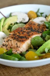 Saumon laqué, salade vitaminée