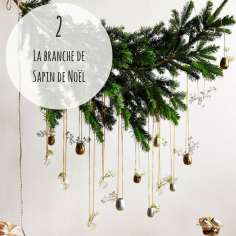 #DECO Pas de place pour un sapin de Noël? Ou envie de créer une jolie déco au dessus de votre table de fête? Accrochez une jolie branche à laquelle vous suspendrez plein de petites vases ou de boules de Noël! Une chouette idée à retrouver sur le site houseandgarden.co.uk