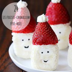 #RECETTE Des chamallows surmontés d'une fraise et décorés de chantilly : 3 ingrédients suffisent pour réaliser ces petits Père-noëls trop mignons.