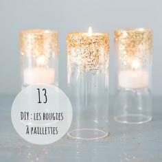 """#DIY Une table de Noël sans bougies et sans un peu de paillettes, ce n'est pas une vraie table de Noël ! Un photophore, de la colle et un pot de paillettes suffisent pour créer de jolies bougies homemade. J'ai déniché pour vous un chouette """"Do it Yourself"""" pour pimper votre déco, rdv sur http://blog.weddingstar.com/diy-wedding-decor-ideas-a-touch-of-art-deco-gold/"""