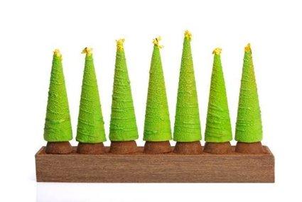 Joël Robuchon, Christophe Cussac et le chef pâtissier Patrick Mesiano signent pour l'Hôtel Métropole Monte-Carlo une bûche aux allures de forêt enchantée. La bûche est composée d'un biscuit noisette praliné feuilletine, crémeux caramel et mousse noisette. Les sapins sont remplis de mousse chocolat et crémeux praliné.