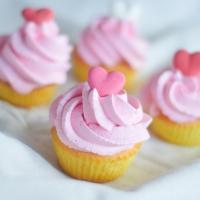Cupcake vanille de la Saint-Valentin