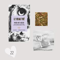 Idée cadeau : Le Beau Thé made in France. Testé et approuvé : un thé pour les lendemains de grosses soirées, à base de thé vert japonais, cranberry, mélisse, romarin, fenouil, coriandre, baies de goji, ginseng, menthe, lapacho, pétales de bleuet, ortie. Parfait pour le 1er janvier. Plus d'infos sur http://www.lebeauthe.com/store/p8/Mardi_anti-suicide.html